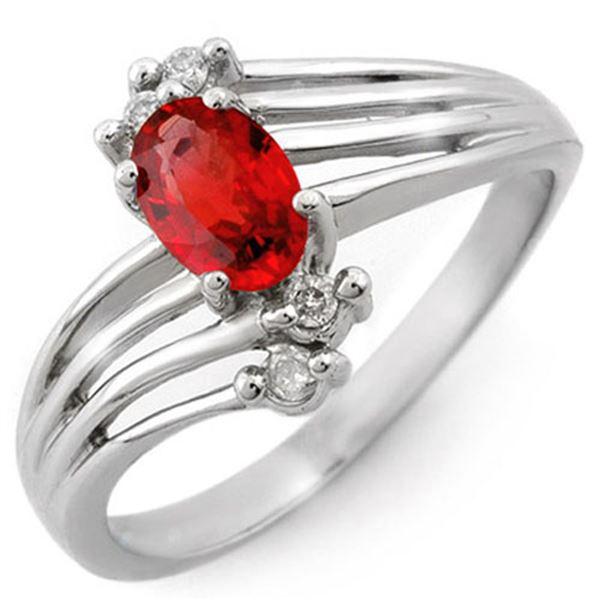 0.80 ctw Red Sapphire & Diamond Ring 10k White Gold - REF-16F3M