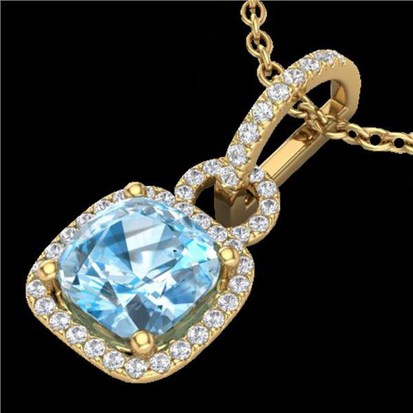 3.50 ctw TOPAZ & Micro VS/SI Diamond Certified Necklace 18k Yellow Gold - REF-52W3H