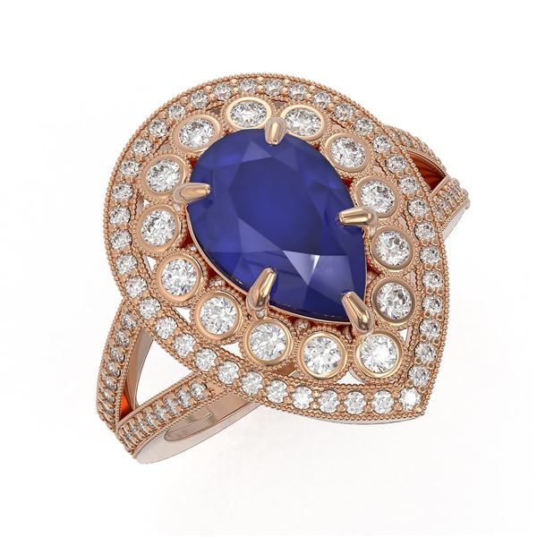 5.12 ctw Certified Sapphire & Diamond Victorian Ring 14K Rose Gold - REF-161Y8X