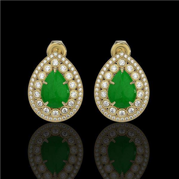 7.74 ctw Jade & Diamond Victorian Earrings 14K Yellow Gold - REF-218G2W