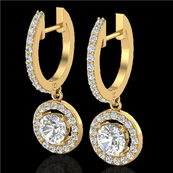 1.75 ctw Micro Pave VS/SI Diamond Certified Earrings 18k Yellow Gold - REF-219W8H