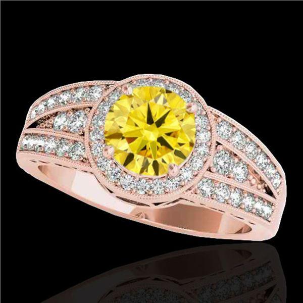 1.5 ctw Certified SI/I Fancy Intense Yellow Diamond Ring 10k Rose Gold - REF-211Y4X