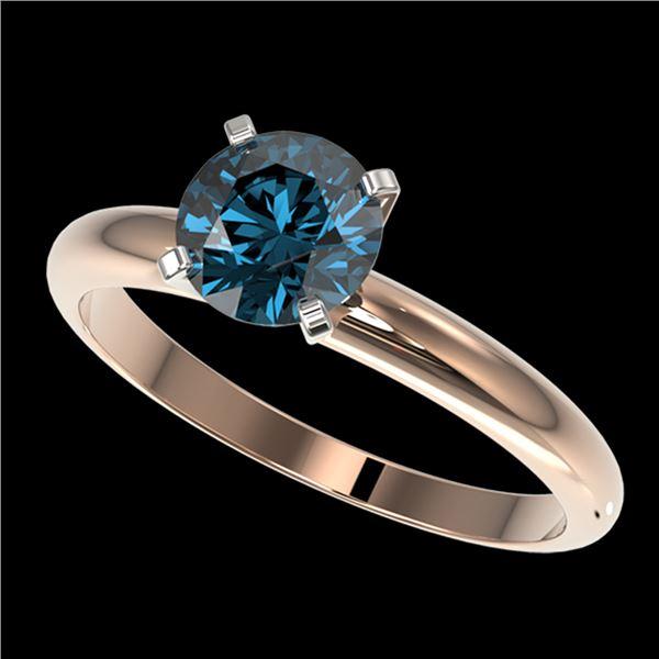 1.29 ctw Certified Intense Blue Diamond Engagment Ring 10k Rose Gold - REF-120R9K