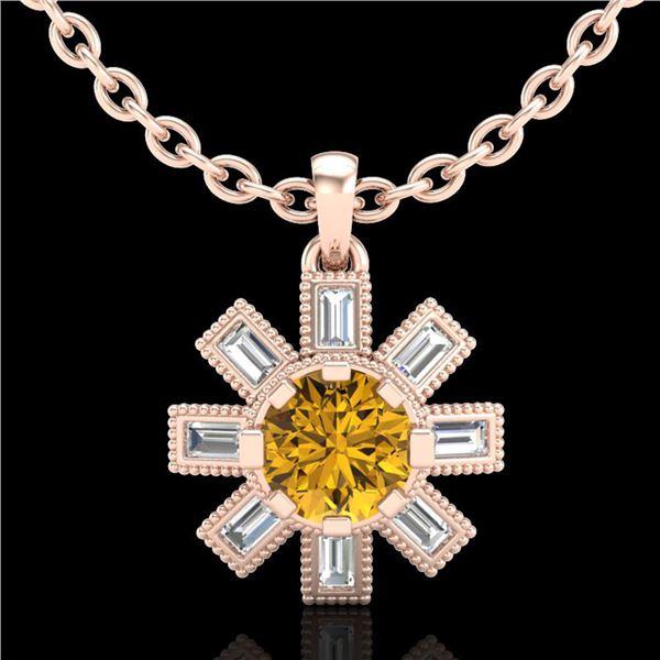 1.33 ctw Intense Fancy Yellow Diamond Art Deco Necklace 18k Rose Gold - REF-216W4H