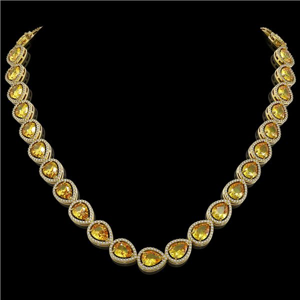36.8 ctw Fancy Citrine & Diamond Micro Pave Halo Necklace 10k Yellow Gold - REF-604A2N