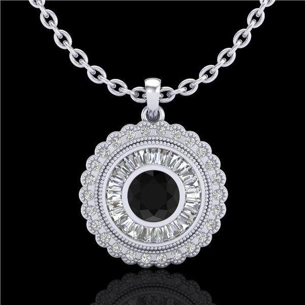 2.11 ctw Fancy Black Diamond Art Deco Stud Necklace 18k White Gold - REF-180R2K
