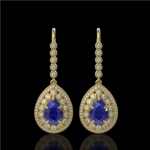 10.15 ctw Sapphire & Diamond Victorian Earrings 14K Yellow Gold - REF-272G2W