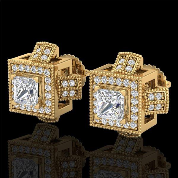 1.73 ctw Princess VS/SI Diamond Micro Pave Stud Earrings 18k Yellow Gold - REF-254X5A