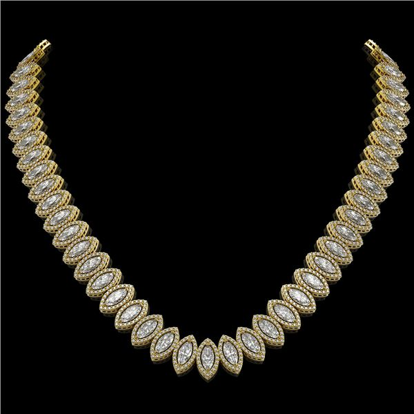 39.68 ctw Marquise Cut Diamond Micro Pave Necklace 18K Yellow Gold - REF-5438G6W