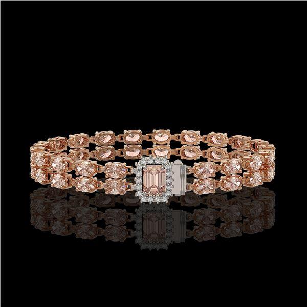 16.35 ctw Morganite & Diamond Bracelet 14K Rose Gold - REF-236R4K