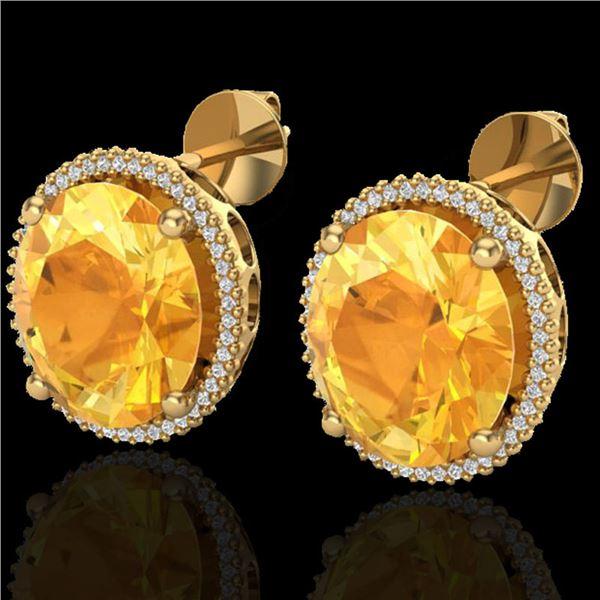 20 ctw Citrine & Micro Pave VS/SI Diamond Earrings 18k Yellow Gold - REF-118G2W