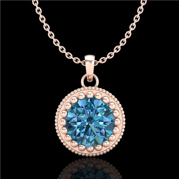 1 ctw Intense Blue Diamond Art Deco Stud Necklace 18k Rose Gold - REF-158W2H