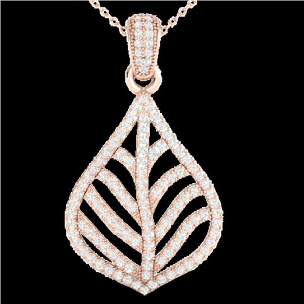 1.25 ctw Micro Pave VS/SI Diamond Necklace Designer 14k Rose Gold - REF-134W5H