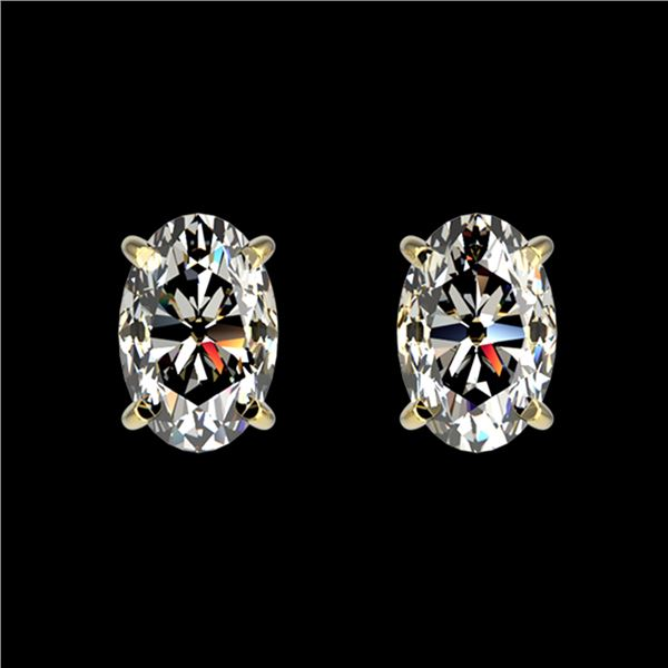 1 ctw Certified VS/SI Quality Oval Diamond Stud Earrings 10k Yellow Gold - REF-120H3R