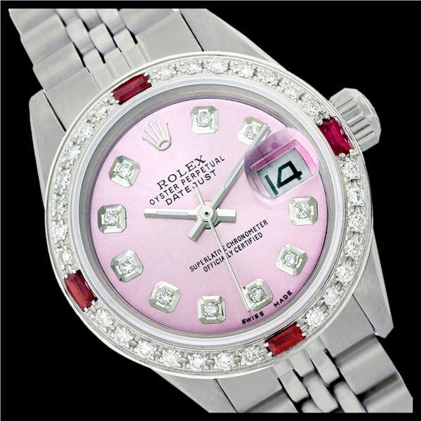 Rolex Ladies Stainless Steel, Diam Dial & Diam/Ruby Bezel, Sapphire Crystal
