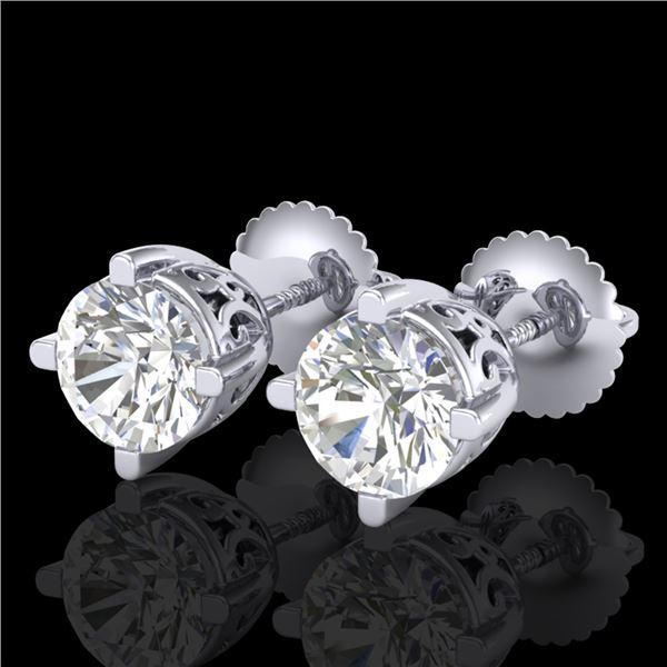 1.5 ctw VS/SI Diamond Solitaire Art Deco Stud Earrings 18k White Gold - REF-318G2W