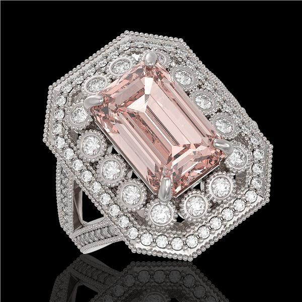 6.08 ctw Certified Morganite & Diamond Victorian Ring 14K White Gold - REF-226G4W