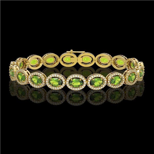 13.87 ctw Peridot & Diamond Micro Pave Halo Bracelet 10k Yellow Gold - REF-263R6K
