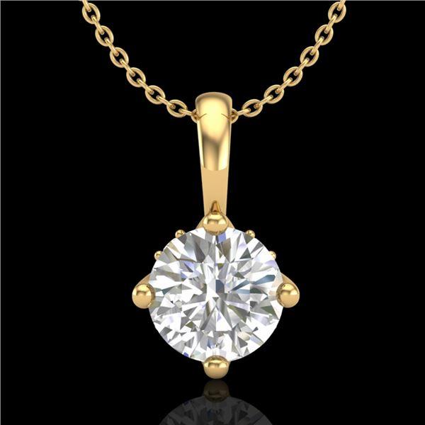 0.82 ctw VS/SI Diamond Solitaire Art Deco Necklace 18k Yellow Gold - REF-180M2G