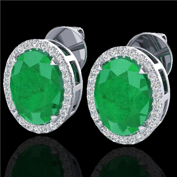 5.50 ctw Emerald & Micro VS/SI Diamond Halo Earrings 18k White Gold - REF-81A8N