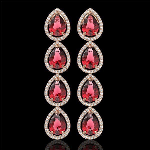 10.48 ctw Tourmaline & Diamond Micro Pave Halo Earrings 10k Rose Gold - REF-281H8R