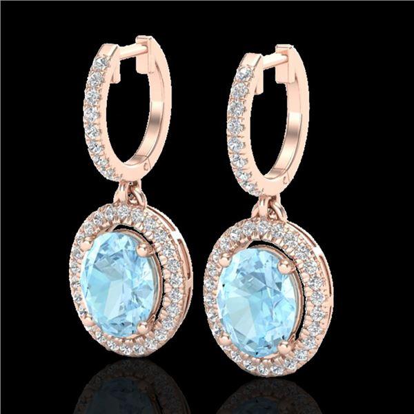 3.25 ctw Aquamarine & Micro Pave VS/SI Diamond Earrings 14k Rose Gold - REF-99R6K