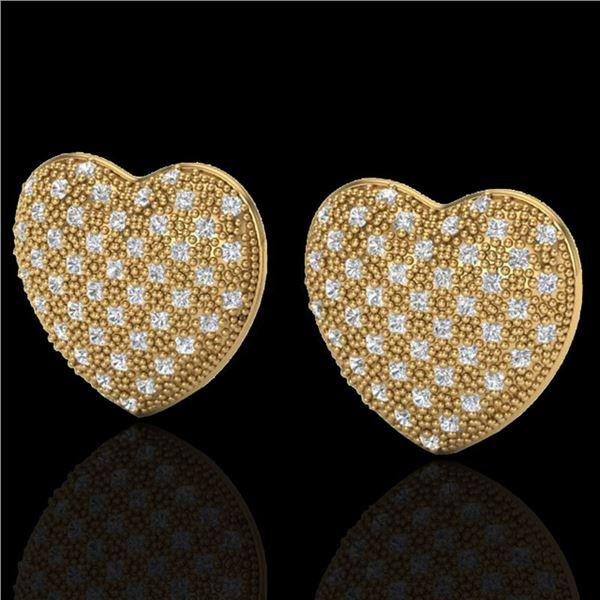 1.50 ctw Micro Pave VS/SI Diamond Heart Earrings 14k Yellow Gold - REF-110R4K