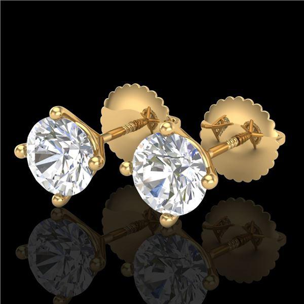 1.5 ctw VS/SI Diamond Solitaire Art Deco Stud Earrings 18k Yellow Gold - REF-208K6Y