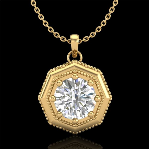 0.75 ctw VS/SI Diamond Solitaire Art Deco Necklace 18k Yellow Gold - REF-180F2M