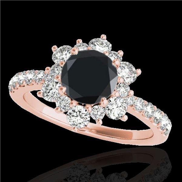 2.19 ctw Certified VS Black Diamond Solitaire Halo Ring 10k Rose Gold - REF-73N5F