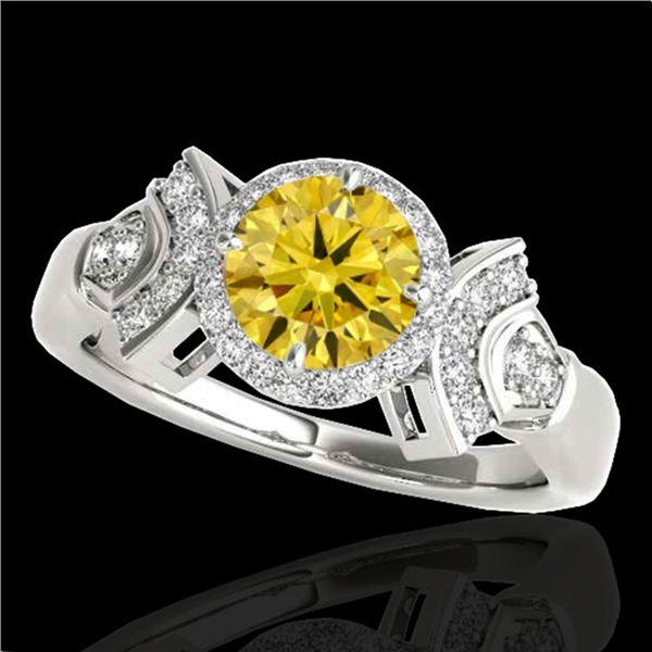 1.56 ctw Certified SI/I Fancy Intense Yellow Diamond Ring 10k White Gold - REF-245F5M