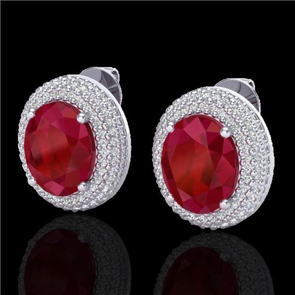 9.20 ctw Ruby & Micro Pave VS/SI Diamond Earrings 18k White Gold - REF-190N2F