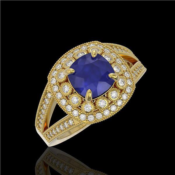 2.69 ctw Certified Sapphire & Diamond Victorian Ring 14K Yellow Gold - REF-99N3F