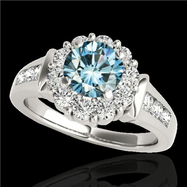 1.9 ctw SI Certified Fancy Blue Diamond Solitaire Halo Ring 10k White Gold - REF-154K8Y