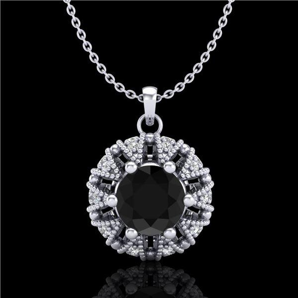1.2 ctw Fancy Black Diamond Art Deco Micro Pave Necklace 18k White Gold - REF-82A8N