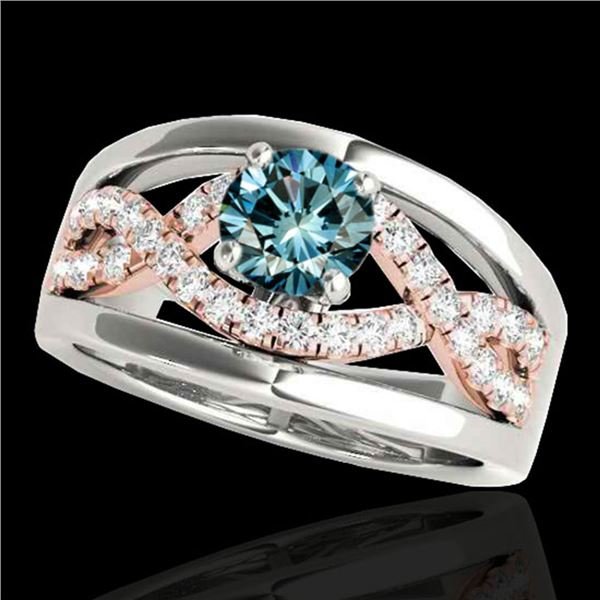1.3 ctw SI Certified Fancy Blue Diamond Solitaire Ring 10k 2Tone Gold - REF-135N2F