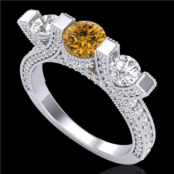 2.3 ctw Intense Fancy Yellow Diamond Micro Pave Ring 18k White Gold - REF-236Y4X