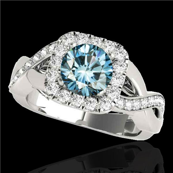 1.65 ctw SI Certified Fancy Blue Diamond Halo Ring 10k White Gold - REF-163M6G