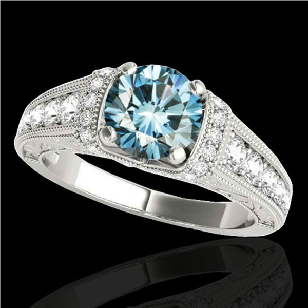 1.5 ctw SI Certified Fancy Blue Diamond Antique Ring 10k White Gold - REF-135G2W