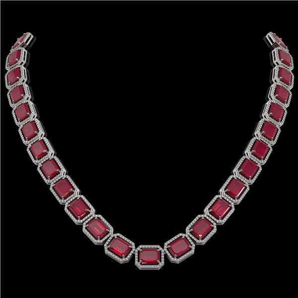 84.94 ctw Ruby & Diamond Micro Pave Halo Necklace 10k White Gold - REF-930A2N