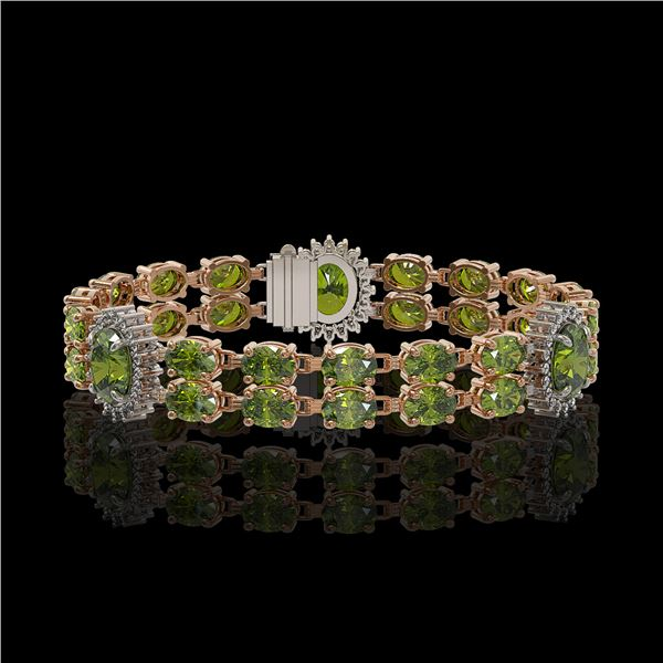 17.79 ctw Tourmaline & Diamond Bracelet 14K Rose Gold - REF-283K3Y