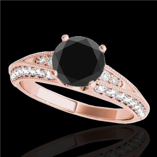 1.58 ctw Certified VS Black Diamond Solitaire Antique Ring 10k Rose Gold - REF-59G3W