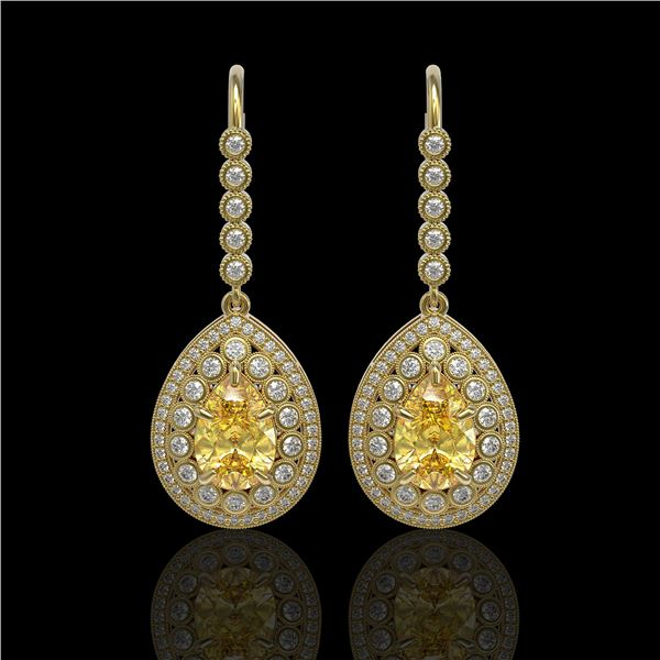 8.15 ctw Canary Citrine & Diamond Victorian Earrings 14K Yellow Gold - REF-244X8A