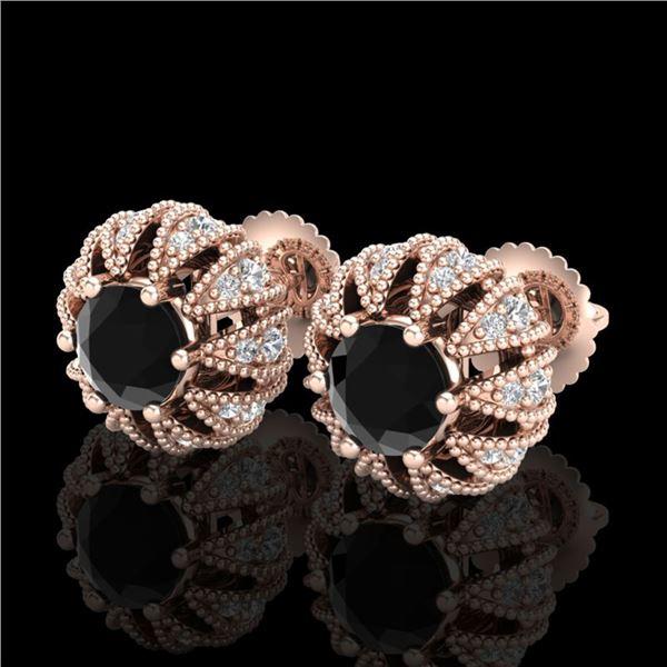 2.01 ctw Fancy Black Diamond Art Deco Micro Pave Earrings 18k Rose Gold - REF-143F6M