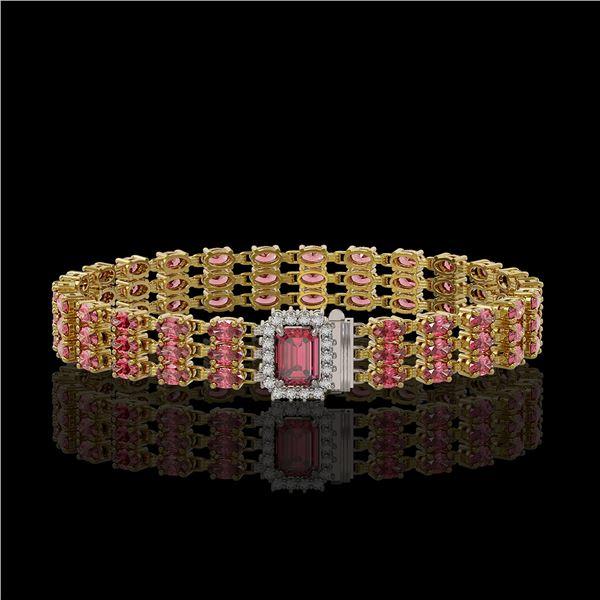 25.49 ctw Tourmaline & Diamond Bracelet 14K Yellow Gold - REF-354Y5X