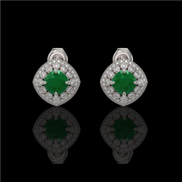 4.99 ctw Certified Emerald & Diamond Victorian Earrings 14K White Gold - REF-128K5Y