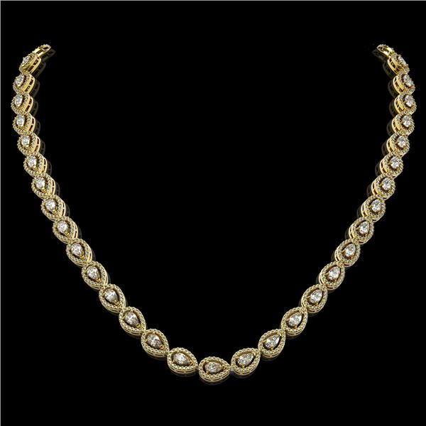 17.28 ctw Pear Cut Diamond Micro Pave Necklace 18K Yellow Gold - REF-1497H3R
