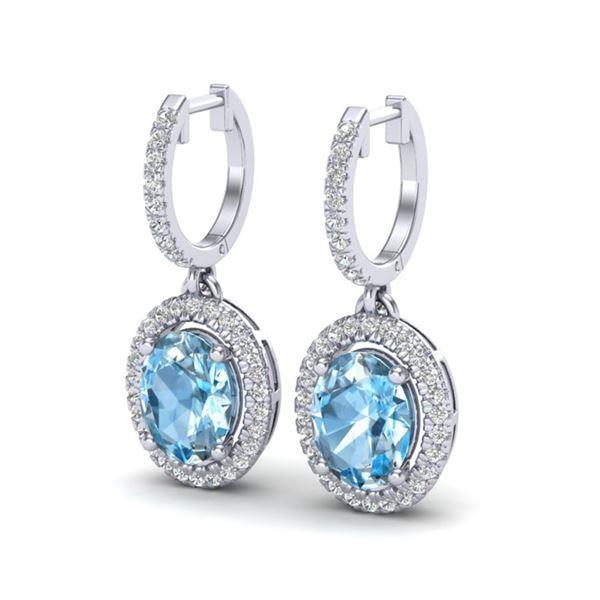 4.25 ctw Sky Blue Topaz & Micro VS/SI Diamond Earrings 18k White Gold - REF-107N3F