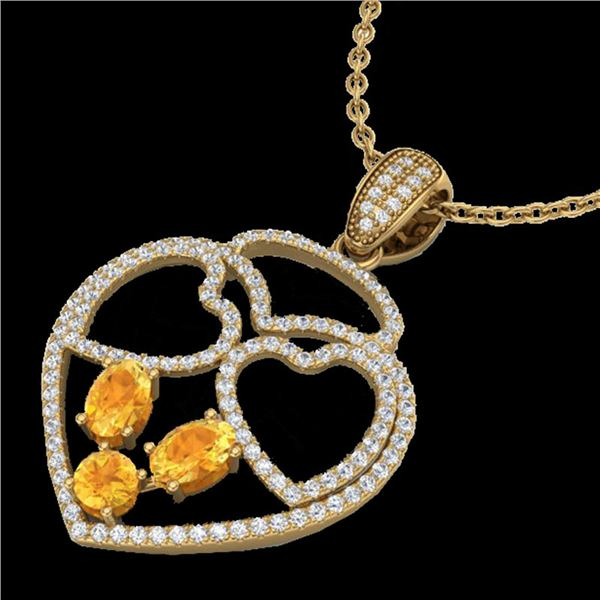 3 ctw Citrine & Micro Pave Designer Heart Necklace 14k Yellow Gold - REF-134X5A