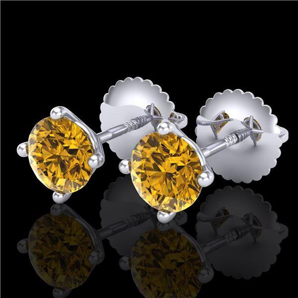1.01 ctw Intense Fancy Yellow Diamond Art Deco Earrings 18k White Gold - REF-107G8W